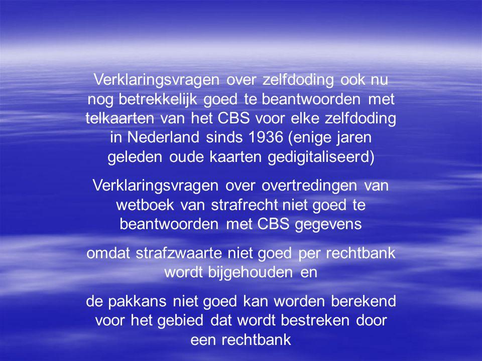 Verklaringsvragen over zelfdoding ook nu nog betrekkelijk goed te beantwoorden met telkaarten van het CBS voor elke zelfdoding in Nederland sinds 1936 (enige jaren geleden oude kaarten gedigitaliseerd) Verklaringsvragen over overtredingen van wetboek van strafrecht niet goed te beantwoorden met CBS gegevens omdat strafzwaarte niet goed per rechtbank wordt bijgehouden en de pakkans niet goed kan worden berekend voor het gebied dat wordt bestreken door een rechtbank