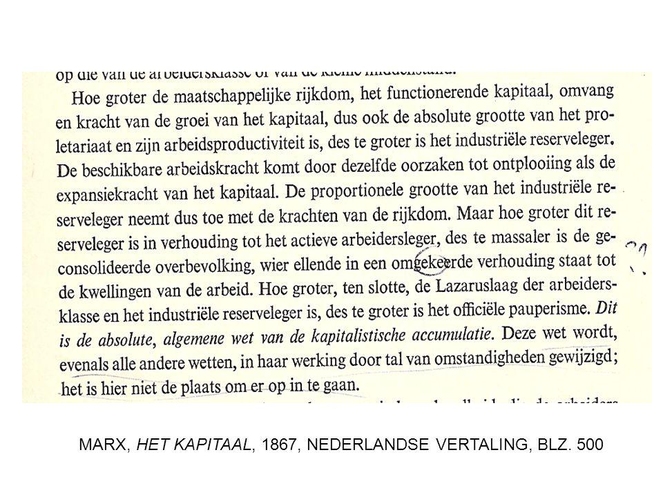 MARX, HET KAPITAAL, 1867, NEDERLANDSE VERTALING, BLZ. 500