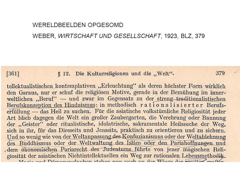 WERELDBEELDEN OPGESOMD WEBER, WIRTSCHAFT UND GESELLSCHAFT, 1923, BLZ, 379