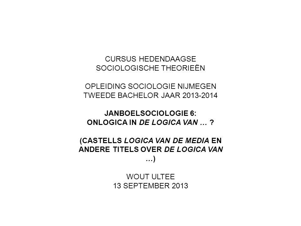 CURSUS HEDENDAAGSE SOCIOLOGISCHE THEORIEËN OPLEIDING SOCIOLOGIE NIJMEGEN TWEEDE BACHELOR JAAR 2013-2014 JANBOELSOCIOLOGIE 6: ONLOGICA IN DE LOGICA VAN … .