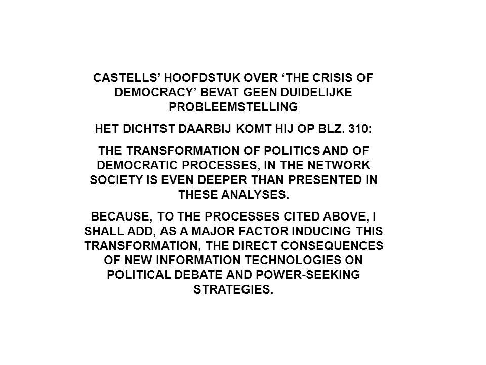 CASTELLS' HOOFDSTUK OVER 'THE CRISIS OF DEMOCRACY' BEVAT GEEN DUIDELIJKE PROBLEEMSTELLING HET DICHTST DAARBIJ KOMT HIJ OP BLZ.