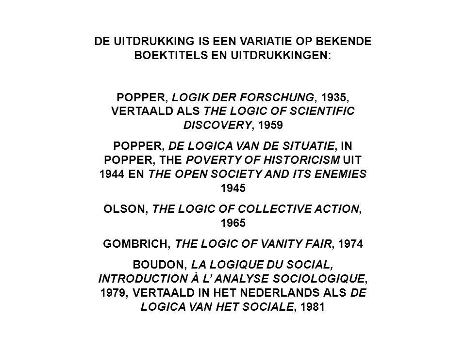 DE UITDRUKKING IS EEN VARIATIE OP BEKENDE BOEKTITELS EN UITDRUKKINGEN: POPPER, LOGIK DER FORSCHUNG, 1935, VERTAALD ALS THE LOGIC OF SCIENTIFIC DISCOVERY, 1959 POPPER, DE LOGICA VAN DE SITUATIE, IN POPPER, THE POVERTY OF HISTORICISM UIT 1944 EN THE OPEN SOCIETY AND ITS ENEMIES 1945 OLSON, THE LOGIC OF COLLECTIVE ACTION, 1965 GOMBRICH, THE LOGIC OF VANITY FAIR, 1974 BOUDON, LA LOGIQUE DU SOCIAL, INTRODUCTION À L' ANALYSE SOCIOLOGIQUE, 1979, VERTAALD IN HET NEDERLANDS ALS DE LOGICA VAN HET SOCIALE, 1981