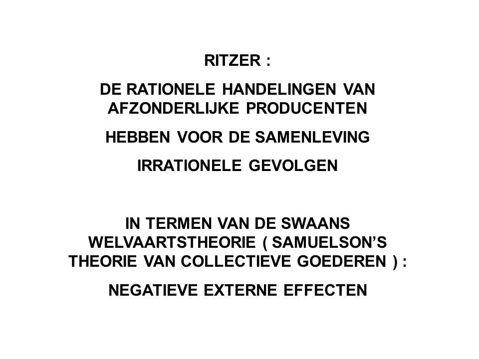 RITZER : DE RATIONELE HANDELINGEN VAN AFZONDERLIJKE PRODUCENTEN HEBBEN VOOR DE SAMENLEVING IRRATIONELE GEVOLGEN IN TERMEN VAN DE SWAANS WELVAARTSTHEORIE ( SAMUELSON'S THEORIE VAN COLLECTIEVE GOEDEREN ) : NEGATIEVE EXTERNE EFFECTEN