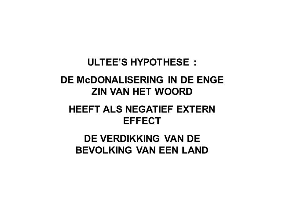 ULTEE'S HYPOTHESE : DE McDONALISERING IN DE ENGE ZIN VAN HET WOORD HEEFT ALS NEGATIEF EXTERN EFFECT DE VERDIKKING VAN DE BEVOLKING VAN EEN LAND
