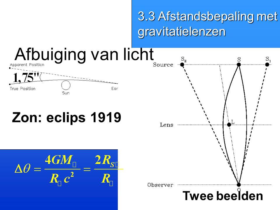 Zon: eclips 1919 Afbuiging van licht Twee beelden 3.3 Afstandsbepaling met gravitatielenzen
