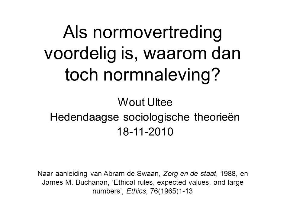 Als normovertreding voordelig is, waarom dan toch normnaleving? Wout Ultee Hedendaagse sociologische theorieën 18-11-2010 Naar aanleiding van Abram de