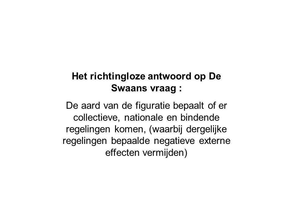 Het richtingloze antwoord op De Swaans vraag : De aard van de figuratie bepaalt of er collectieve, nationale en bindende regelingen komen, (waarbij de