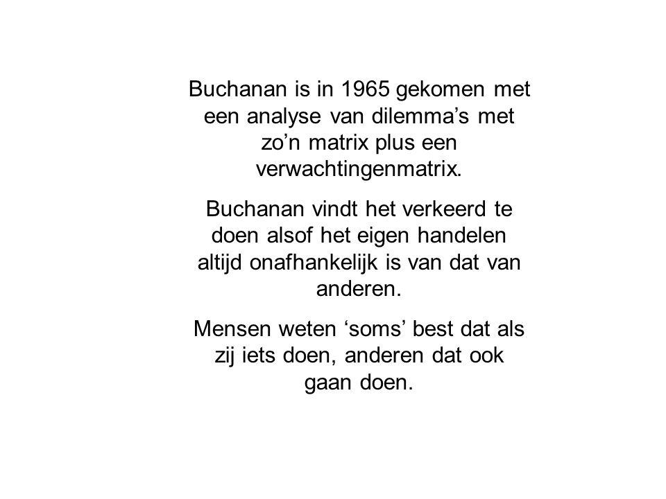 Buchanan is in 1965 gekomen met een analyse van dilemma's met zo'n matrix plus een verwachtingenmatrix. Buchanan vindt het verkeerd te doen alsof het