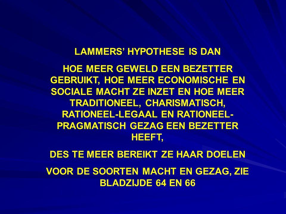 LAMMERS' HYPOTHESE IS DAN HOE MEER GEWELD EEN BEZETTER GEBRUIKT, HOE MEER ECONOMISCHE EN SOCIALE MACHT ZE INZET EN HOE MEER TRADITIONEEL, CHARISMATISCH, RATIONEEL-LEGAAL EN RATIONEEL- PRAGMATISCH GEZAG EEN BEZETTER HEEFT, DES TE MEER BEREIKT ZE HAAR DOELEN VOOR DE SOORTEN MACHT EN GEZAG, ZIE BLADZIJDE 64 EN 66