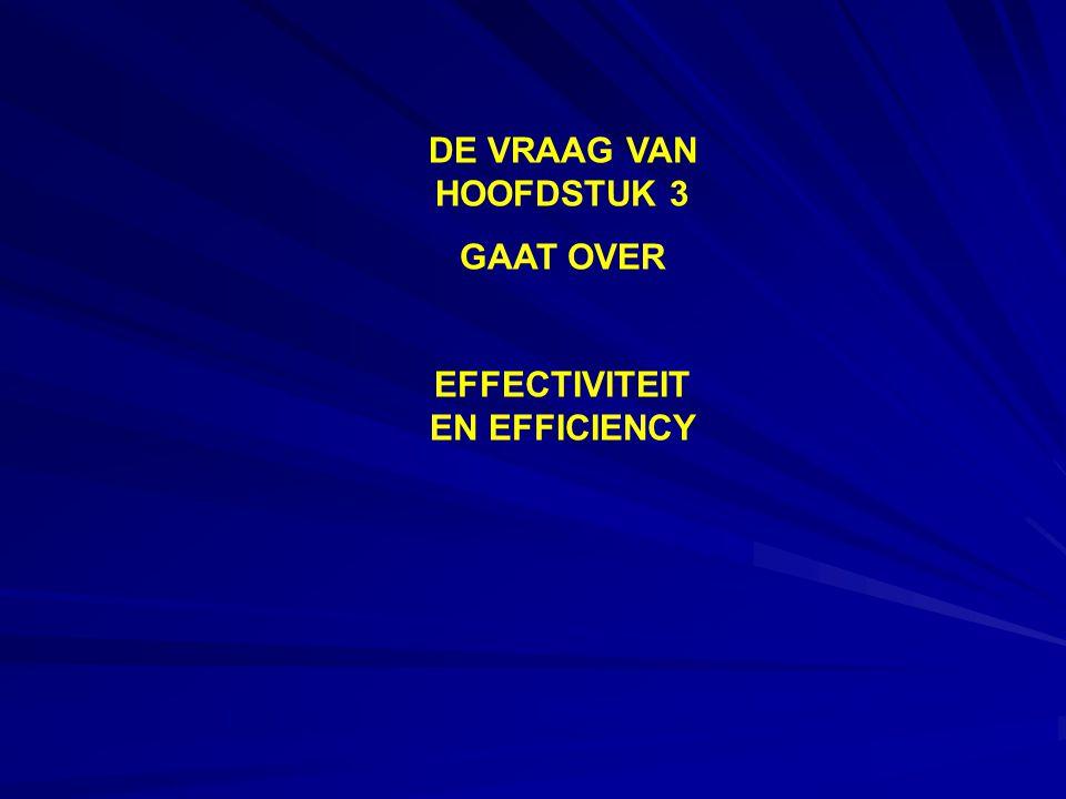 DE VRAAG VAN HOOFDSTUK 3 GAAT OVER EFFECTIVITEIT EN EFFICIENCY