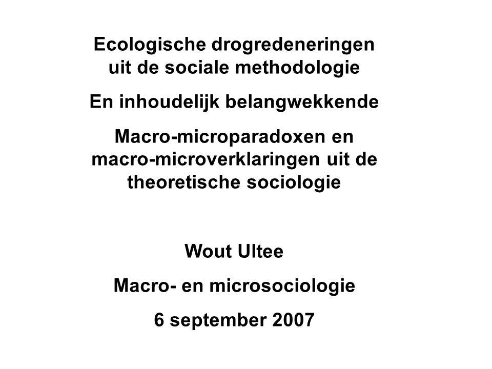 Ecologische drogredeneringen uit de sociale methodologie En inhoudelijk belangwekkende Macro-microparadoxen en macro-microverklaringen uit de theoretische sociologie Wout Ultee Macro- en microsociologie 6 september 2007