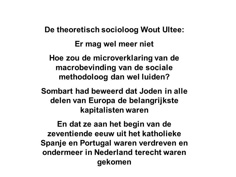 De theoretisch socioloog Wout Ultee: Er mag wel meer niet Hoe zou de microverklaring van de macrobevinding van de sociale methodoloog dan wel luiden.