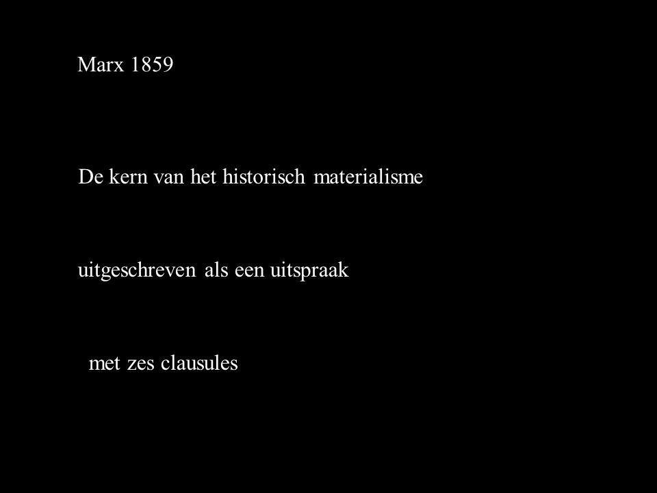 Marx 1859 De kern van het historisch materialisme uitgeschreven als een uitspraak met zes clausules