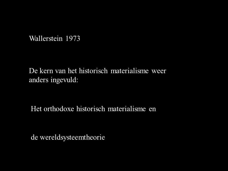 Wallerstein 1973 De kern van het historisch materialisme weer anders ingevuld: Het orthodoxe historisch materialisme en de wereldsysteemtheorie