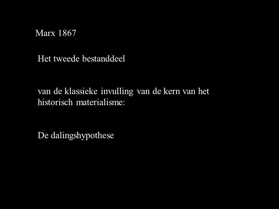Marx 1867 Het tweede bestanddeel van de klassieke invulling van de kern van het historisch materialisme: De dalingshypothese