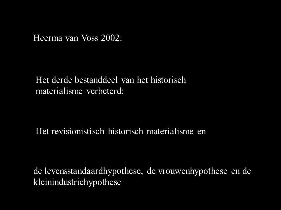 Heerma van Voss 2002: Het derde bestanddeel van het historisch materialisme verbeterd: Het revisionistisch historisch materialisme en de levensstandaardhypothese, de vrouwenhypothese en de kleinindustriehypothese