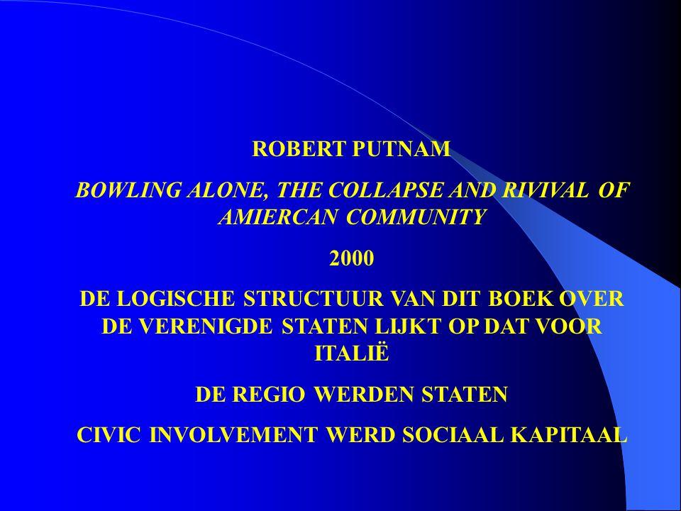 ROBERT PUTNAM BOWLING ALONE, THE COLLAPSE AND RIVIVAL OF AMIERCAN COMMUNITY 2000 DE LOGISCHE STRUCTUUR VAN DIT BOEK OVER DE VERENIGDE STATEN LIJKT OP DAT VOOR ITALIË DE REGIO WERDEN STATEN CIVIC INVOLVEMENT WERD SOCIAAL KAPITAAL