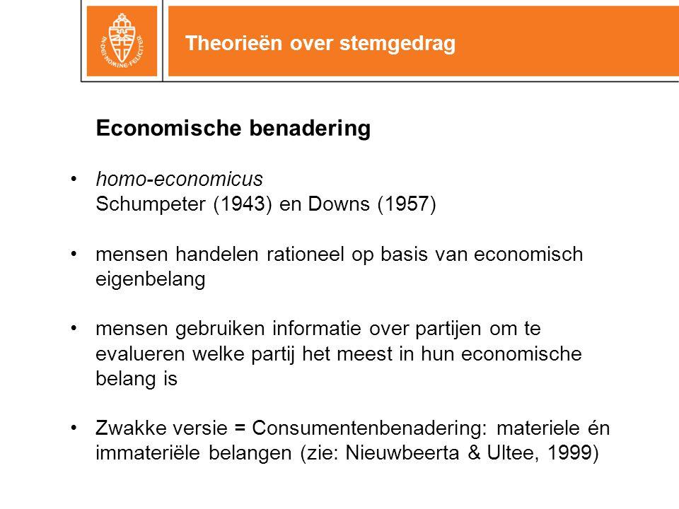 Theorieën over stemgedrag Economische benadering homo-economicus Schumpeter (1943) en Downs (1957) mensen handelen rationeel op basis van economisch eigenbelang mensen gebruiken informatie over partijen om te evalueren welke partij het meest in hun economische belang is Zwakke versie = Consumentenbenadering: materiele én immateriële belangen (zie: Nieuwbeerta & Ultee, 1999)