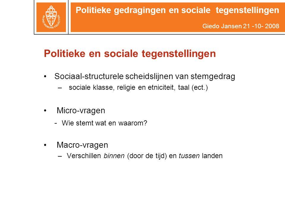 Politieke en sociale tegenstellingen Sociaal-structurele scheidslijnen van stemgedrag – sociale klasse, religie en etniciteit, taal (ect.) Micro-vragen - Wie stemt wat en waarom.