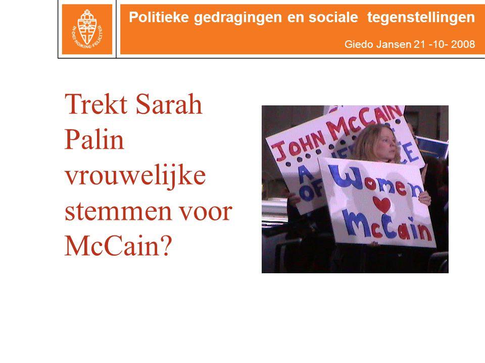 Trekt Sarah Palin vrouwelijke stemmen voor McCain.