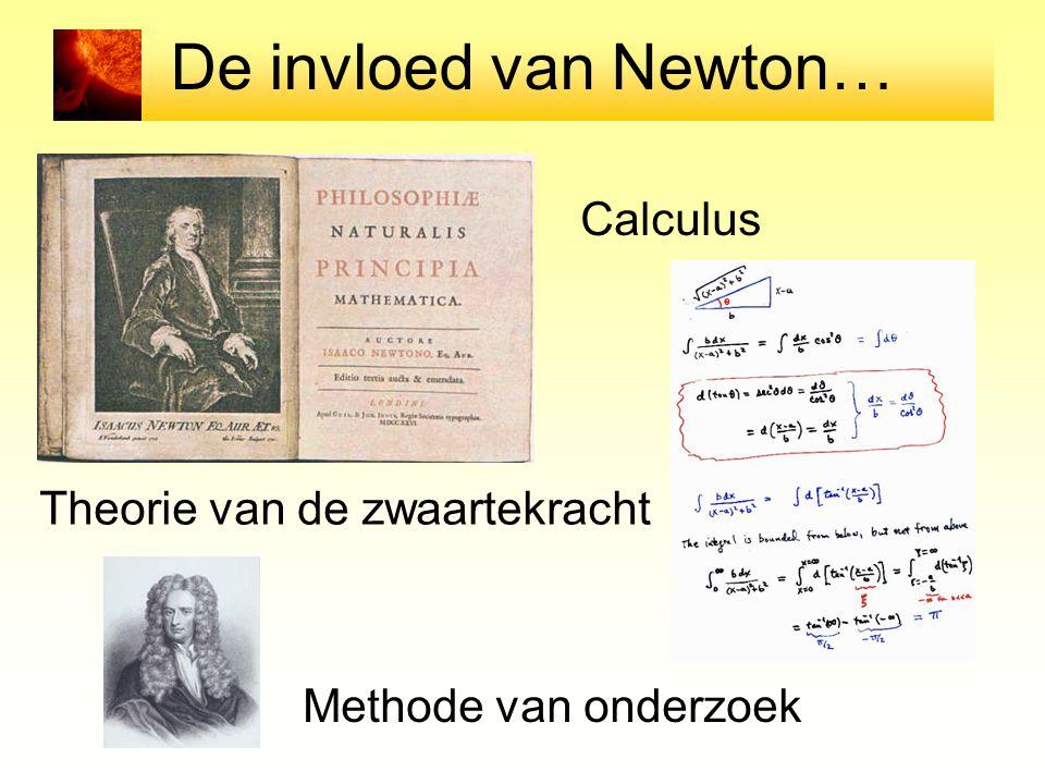 De invloed van Newton… Theorie van de zwaartekracht Calculus Methode van onderzoek