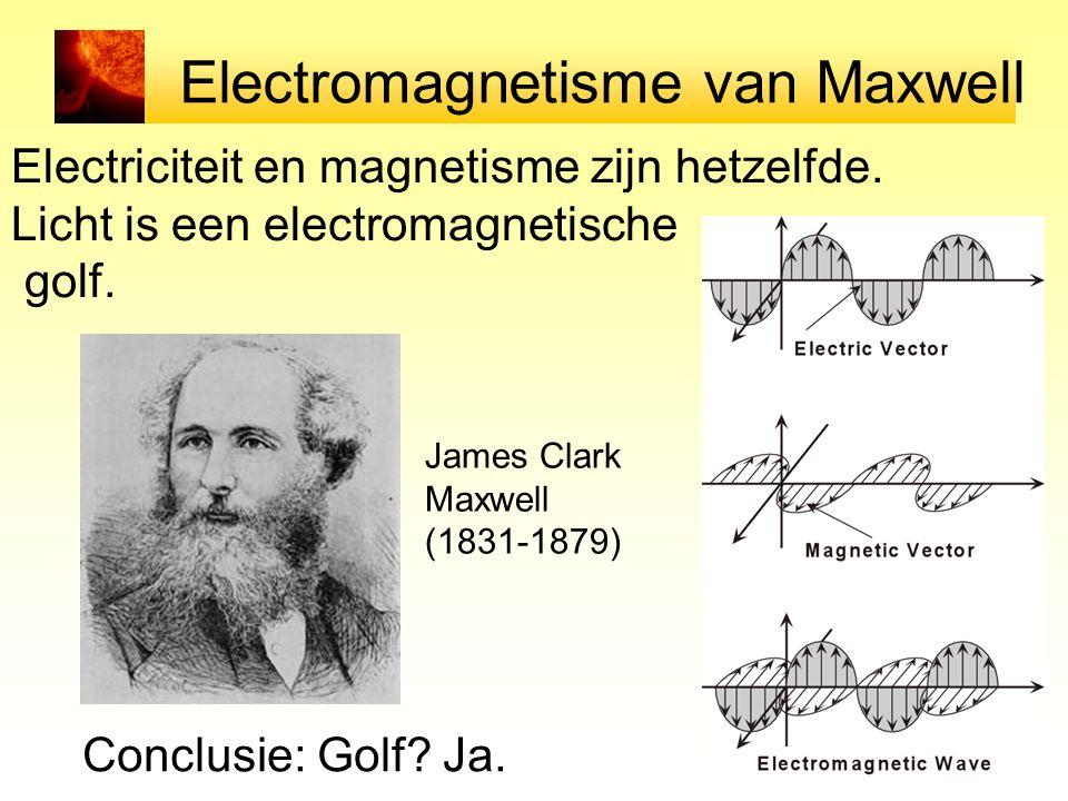 Electromagnetisme van Maxwell Electriciteit en magnetisme zijn hetzelfde. Licht is een electromagnetische golf. Conclusie: Golf? Ja. James Clark Maxwe