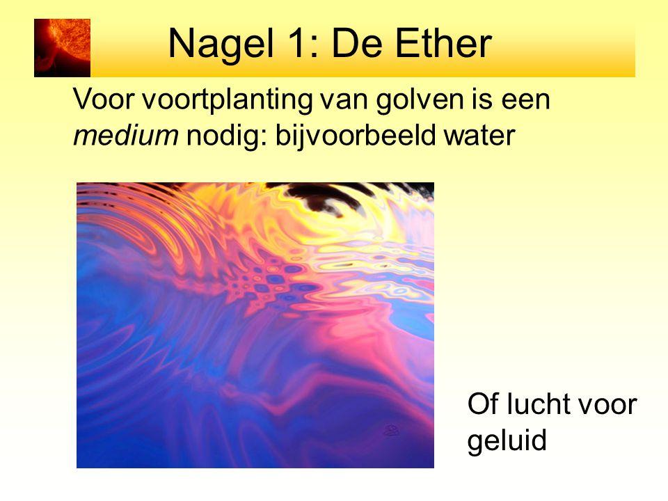 Nagel 1: De Ether Voor voortplanting van golven is een medium nodig: bijvoorbeeld water Of lucht voor geluid