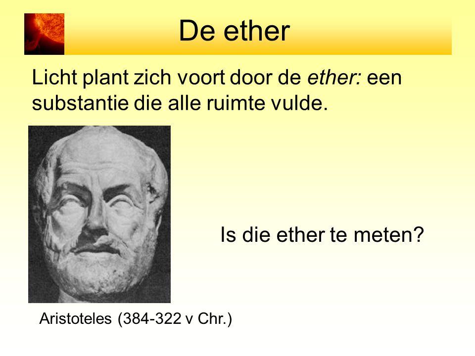 De ether Licht plant zich voort door de ether: een substantie die alle ruimte vulde. Aristoteles (384-322 v Chr.) Is die ether te meten?