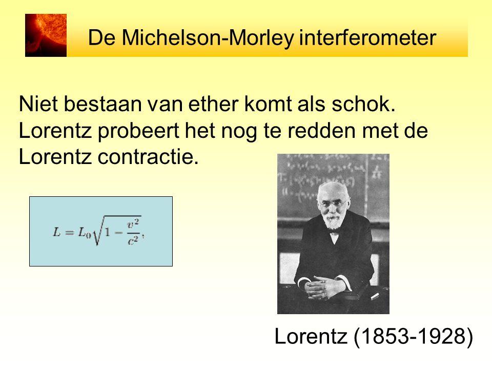 De Michelson-Morley interferometer Niet bestaan van ether komt als schok. Lorentz probeert het nog te redden met de Lorentz contractie. Lorentz (1853-