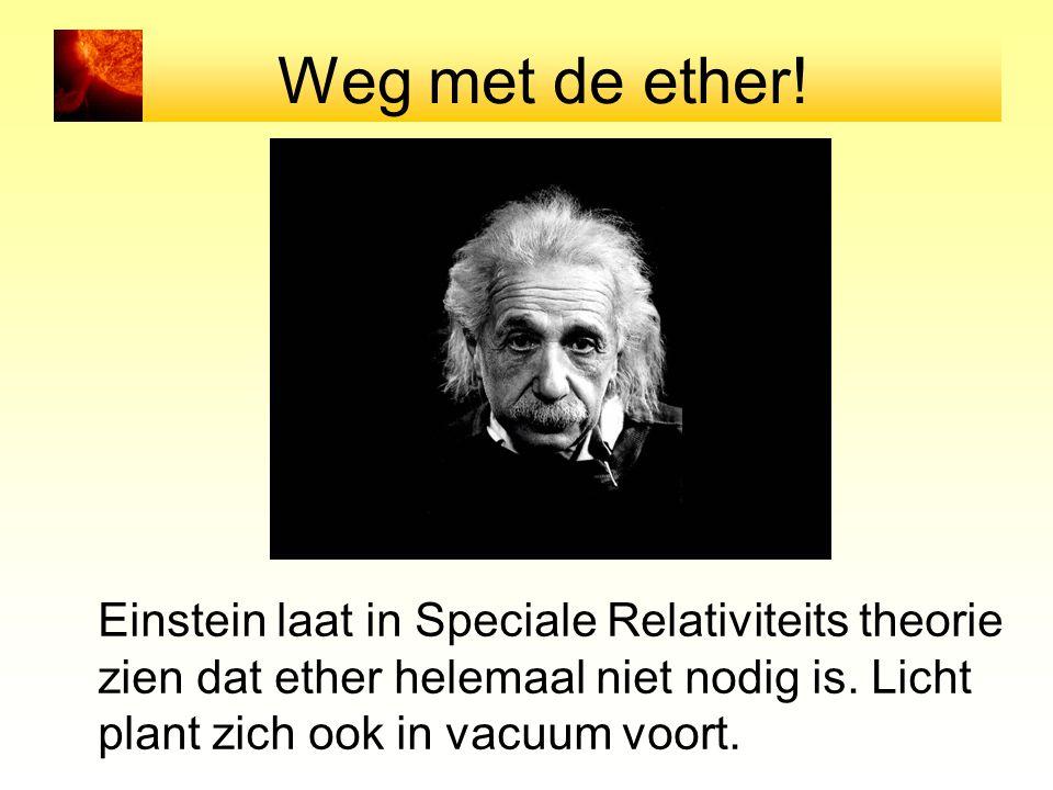 Weg met de ether! Einstein laat in Speciale Relativiteits theorie zien dat ether helemaal niet nodig is. Licht plant zich ook in vacuum voort.