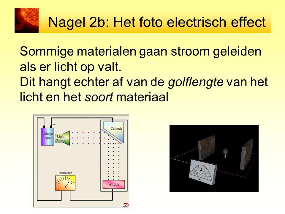 Nagel 2b: Het foto electrisch effect Sommige materialen gaan stroom geleiden als er licht op valt. Dit hangt echter af van de golflengte van het licht
