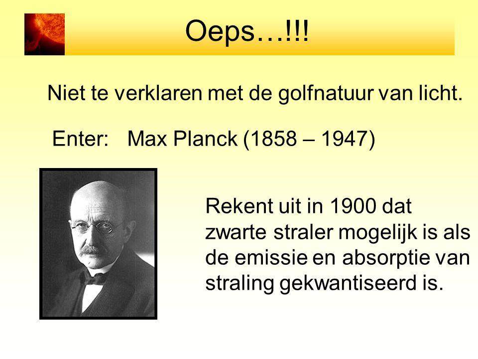 Oeps…!!! Niet te verklaren met de golfnatuur van licht. Enter:Max Planck (1858 – 1947) Rekent uit in 1900 dat zwarte straler mogelijk is als de emissi