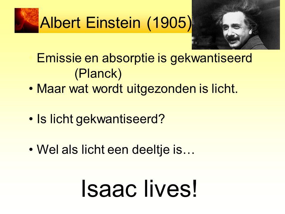 Albert Einstein (1905 ) Emissie en absorptie is gekwantiseerd (Planck) Maar wat wordt uitgezonden is licht. Is licht gekwantiseerd? Wel als licht een