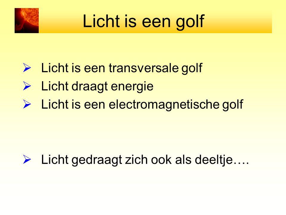 Licht is een golf  Licht is een transversale golf  Licht draagt energie  Licht is een electromagnetische golf  Licht gedraagt zich ook als deeltje