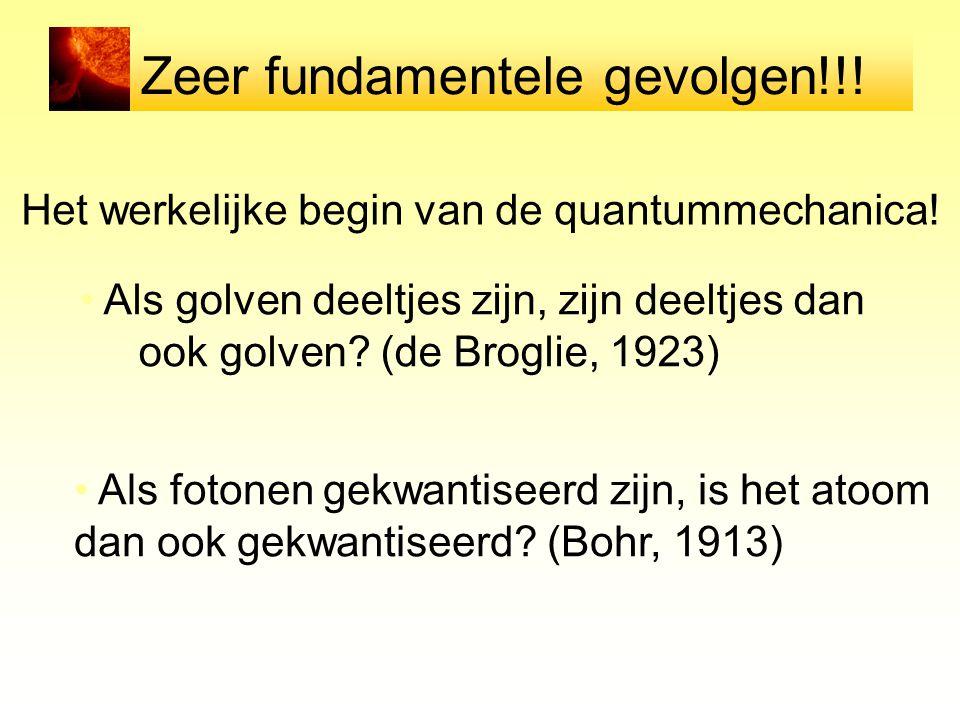 Zeer fundamentele gevolgen!!! Het werkelijke begin van de quantummechanica! Als golven deeltjes zijn, zijn deeltjes dan ook golven? (de Broglie, 1923)