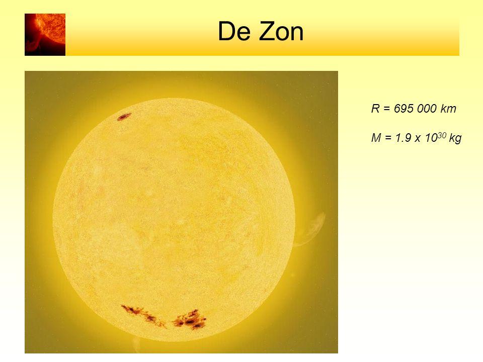 De Zon R = 695 000 km M = 1.9 x 10 30 kg