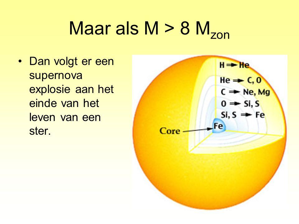 Maar als M > 8 M zon Dan volgt er een supernova explosie aan het einde van het leven van een ster.