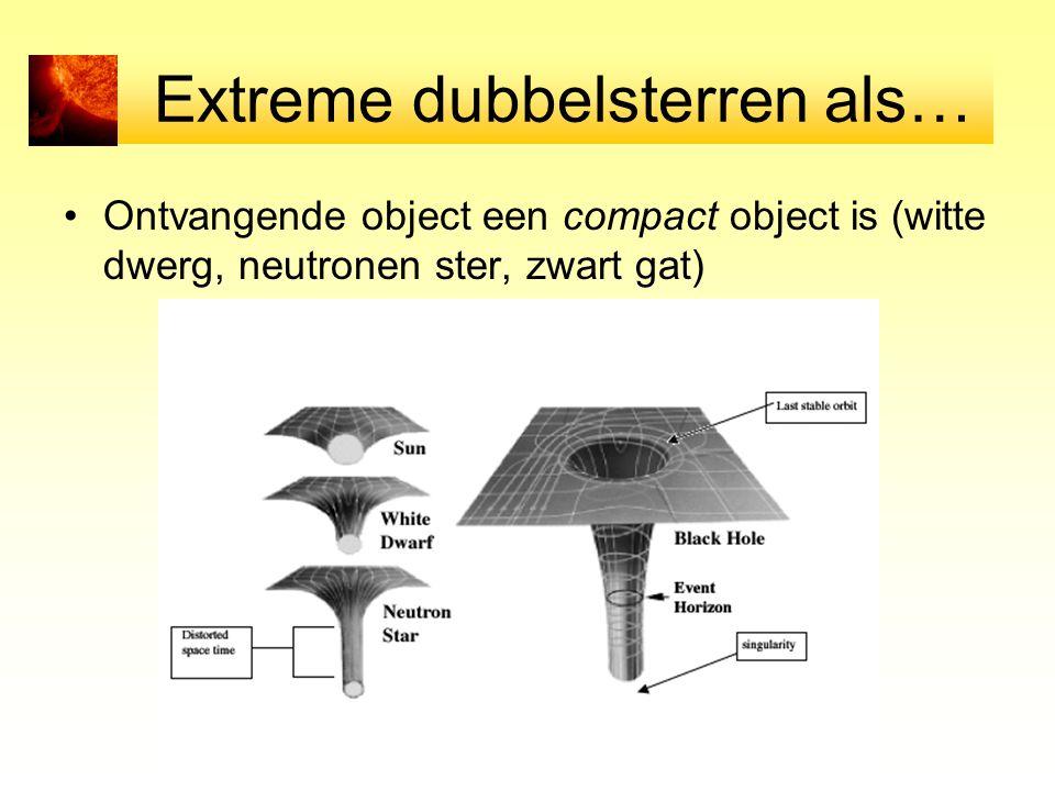 Extreme dubbelsterren als… Ontvangende object een compact object is (witte dwerg, neutronen ster, zwart gat)