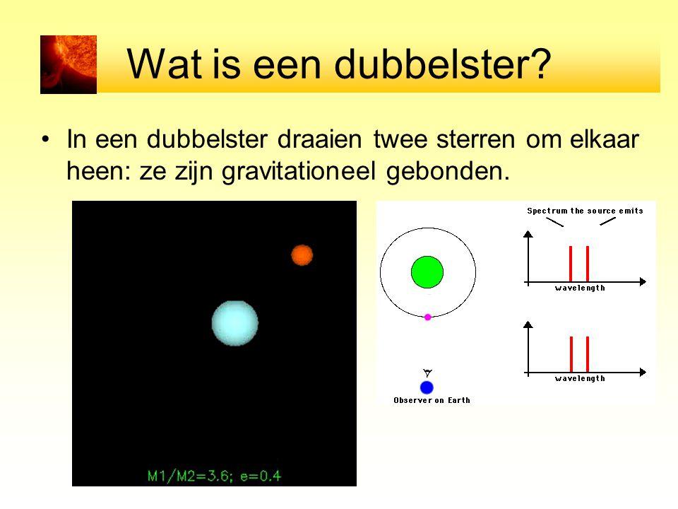 Wat is een dubbelster? In een dubbelster draaien twee sterren om elkaar heen: ze zijn gravitationeel gebonden.
