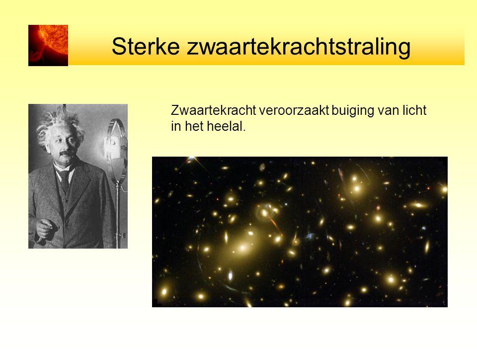 Sterke zwaartekrachtstraling Zwaartekracht veroorzaakt buiging van licht in het heelal.