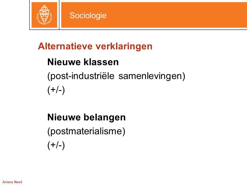 Sociologie Ariana Need Alternatieve verklaringen Nieuwe klassen (post-industriële samenlevingen) (+/-) Nieuwe belangen (postmaterialisme) (+/-)