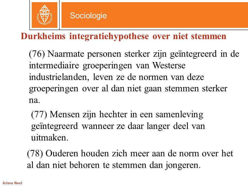 Sociologie Ariana Need (77) Mensen zijn hechter in een samenleving geïntegreerd wanneer ze daar langer deel van uitmaken. (76) Naarmate personen sterk