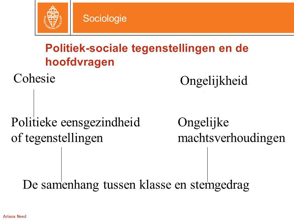 Sociologie Ariana Need Politiek-sociale tegenstellingen en de hoofdvragen Cohesie Ongelijkheid Politieke eensgezindheid of tegenstellingen Ongelijke m