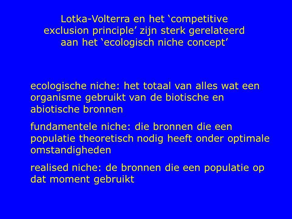 Lotka-Volterra en het 'competitive exclusion principle' zijn sterk gerelateerd aan het 'ecologisch niche concept' ecologische niche: het totaal van al
