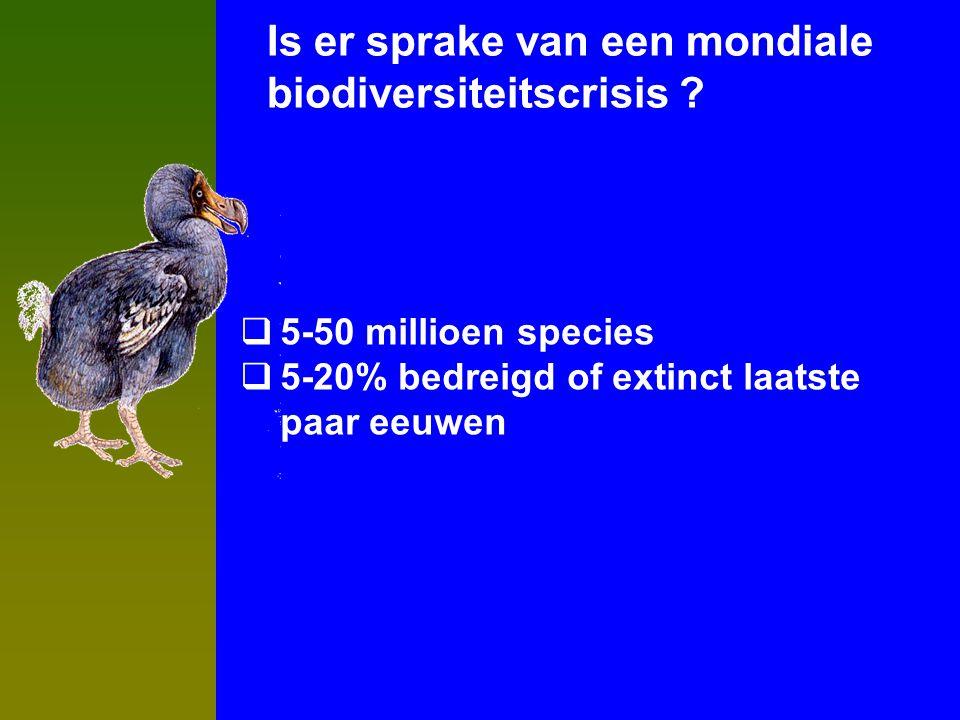  5-50 millioen species  5-20% bedreigd of extinct laatste paar eeuwen Is er sprake van een mondiale biodiversiteitscrisis ?