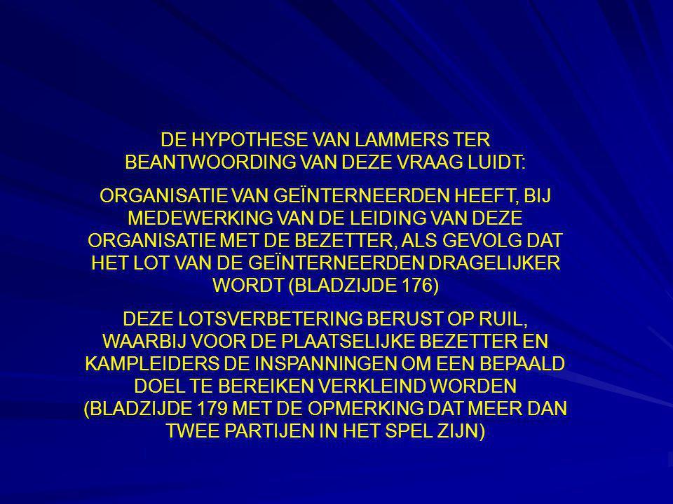 DE HYPOTHESE VAN LAMMERS TER BEANTWOORDING VAN DEZE VRAAG LUIDT: ORGANISATIE VAN GEÏNTERNEERDEN HEEFT, BIJ MEDEWERKING VAN DE LEIDING VAN DEZE ORGANIS