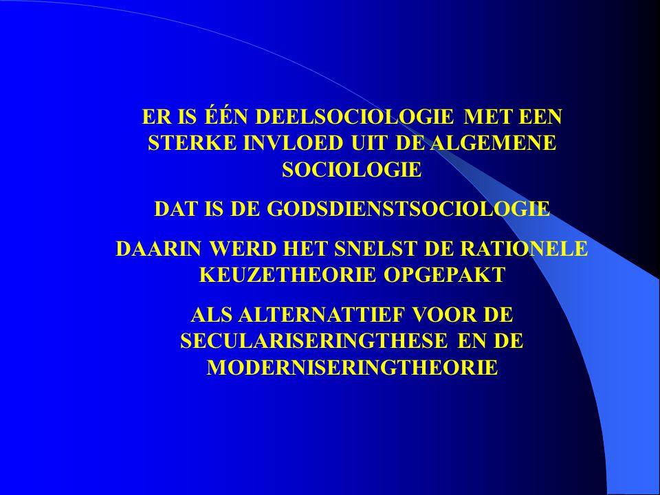 ER IS ÉÉN DEELSOCIOLOGIE MET EEN STERKE INVLOED UIT DE ALGEMENE SOCIOLOGIE DAT IS DE GODSDIENSTSOCIOLOGIE DAARIN WERD HET SNELST DE RATIONELE KEUZETHE