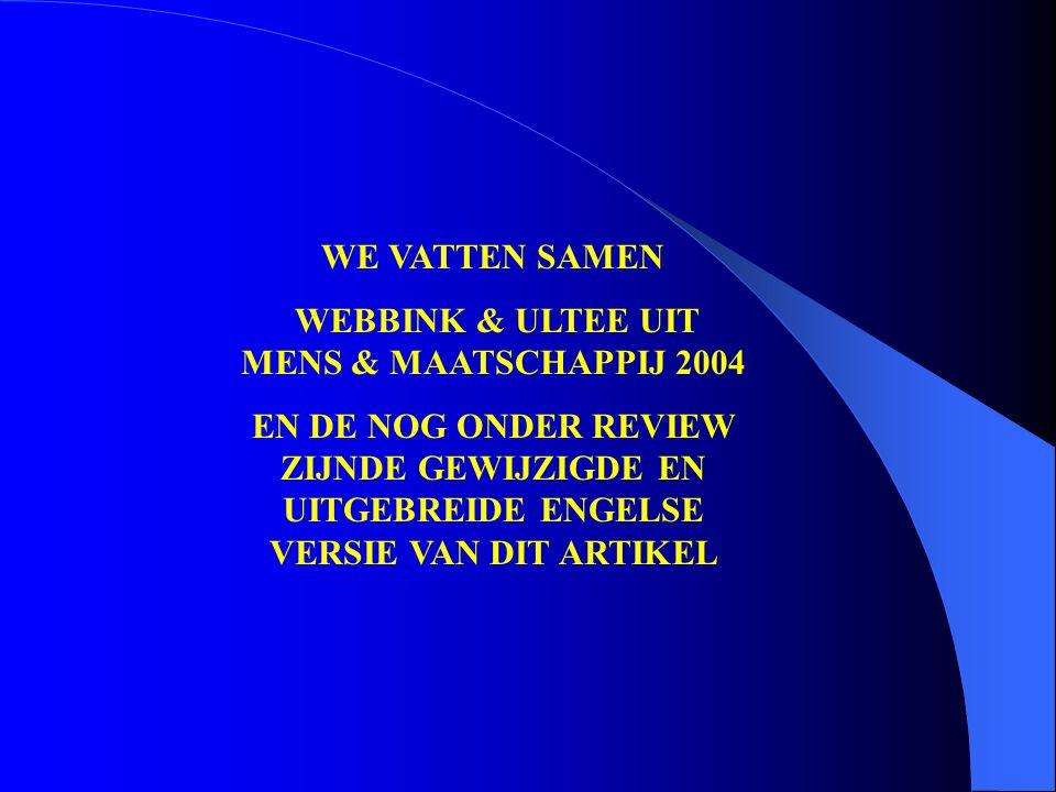 WE VATTEN SAMEN WEBBINK & ULTEE UIT MENS & MAATSCHAPPIJ 2004 EN DE NOG ONDER REVIEW ZIJNDE GEWIJZIGDE EN UITGEBREIDE ENGELSE VERSIE VAN DIT ARTIKEL