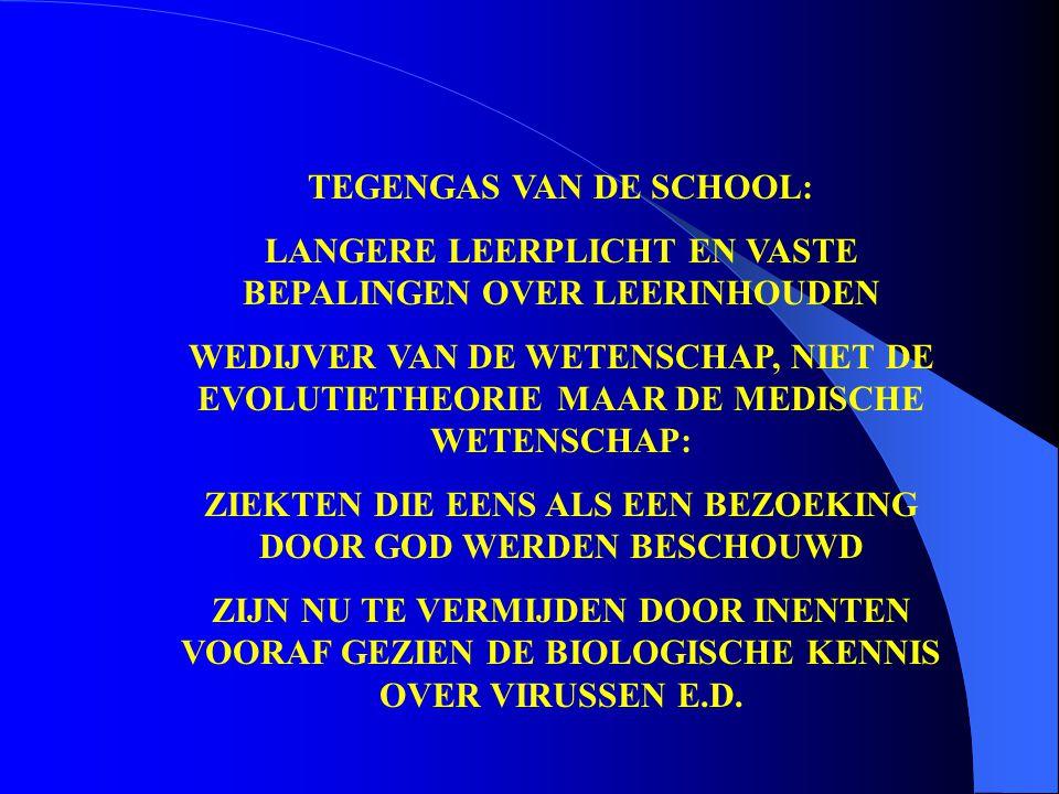 TEGENGAS VAN DE SCHOOL: LANGERE LEERPLICHT EN VASTE BEPALINGEN OVER LEERINHOUDEN WEDIJVER VAN DE WETENSCHAP, NIET DE EVOLUTIETHEORIE MAAR DE MEDISCHE