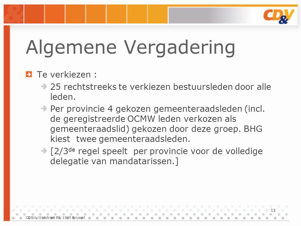CD&V, Wetstraat 89, 1040 Brussel 11 Algemene Vergadering Te verkiezen : 25 rechtstreeks te verkiezen bestuursleden door alle leden.